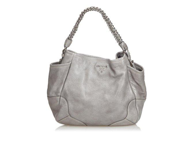 185b5c85d5e7fe Prada Leather Hobo Bag Handbags Leather,Other Grey ref.104926 - Joli ...