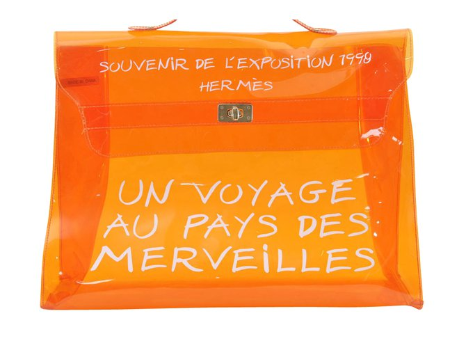 Hermès Hermès Vinyl Kelly Hand Beach Bag Handbags Other Orange ref.105031