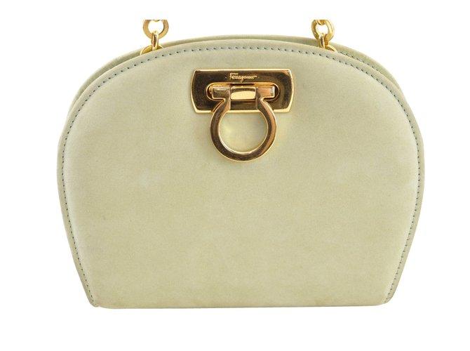 Salvatore Ferragamo Suede Gancini Shoulder Bag Handbags Suede Green  ref.105214 765e4c33490ab
