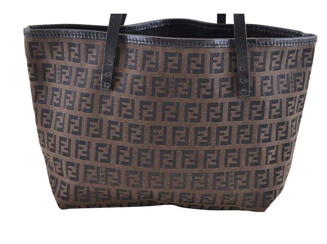 967bbed6888c Fendi Fendi Zucca Canvas Tote Bag Handbags Cloth Brown ref.105223 ...