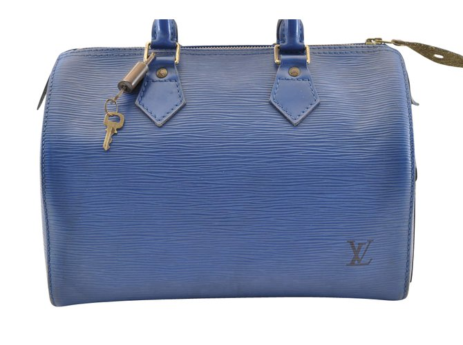 Louis Vuitton Louis Vuitton Speedy Epi 30 Handbags Leather Blue ref.105227 d9dcddf761