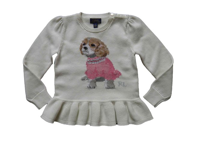 Pulls, gilets fille Ralph Lauren puppies Coton Écru ref.105268