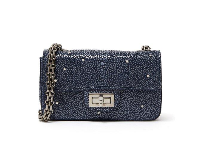 Sacs à main Chanel 2:55 MINI PRECIOUS SHAGREEN Autre Gris anthracite ref.105269