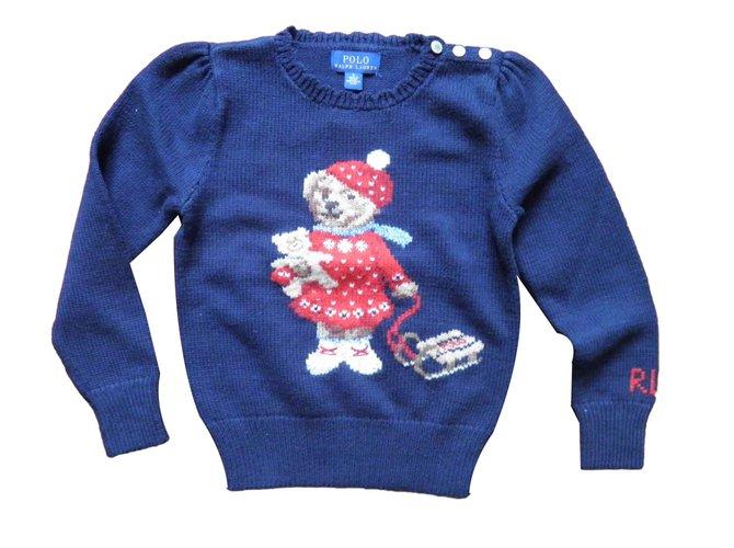 Pulls, gilets fille Ralph Lauren bear Coton Bleu Marine ref.105270