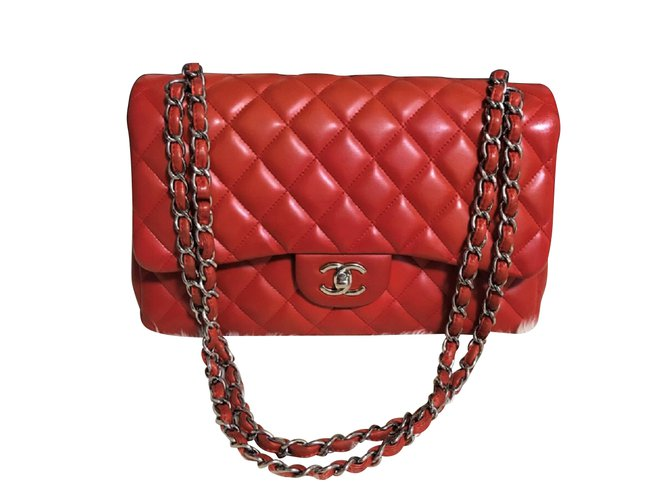 5ec469e92a77e7 Chanel Chanel Red Jumbo timeless bag in Lambskin Handbags Leather Red  ref.105325