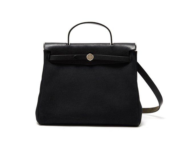 f45a35356612 Sacs à main Hermès HERBAG 30 BLACK Toile Noir ref.105470 - Joli Closet