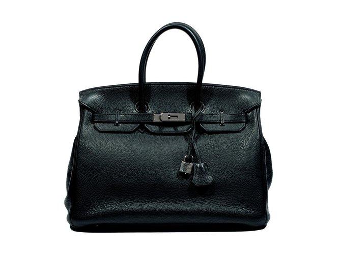 Sacs à main Hermès Birkin 35 Verso Cuir Noir,Bleu ref.77643