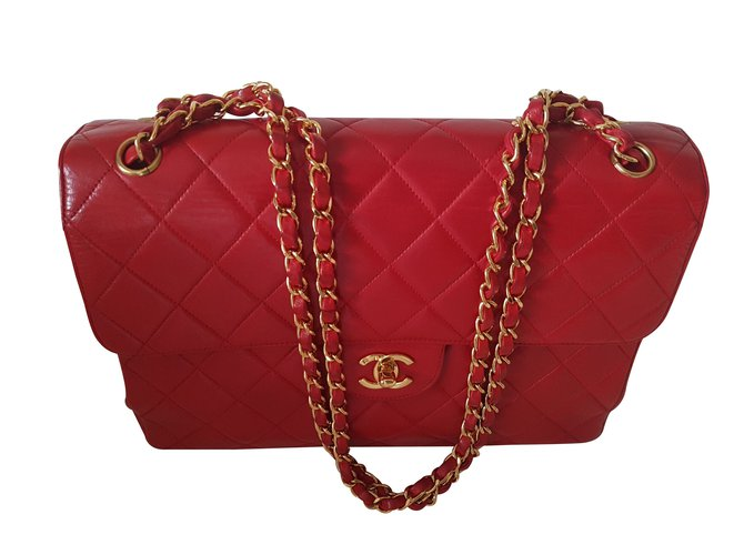 16360ca35b1f Chanel lined SIDED CHANEL BAG JUMBO RED LIMITED EDITION Handbags Leather Red  ref.99489