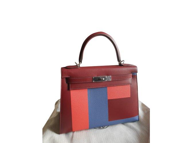 Sacs à main Hermès Kelly 28 Cuir Bordeaux ref.99572