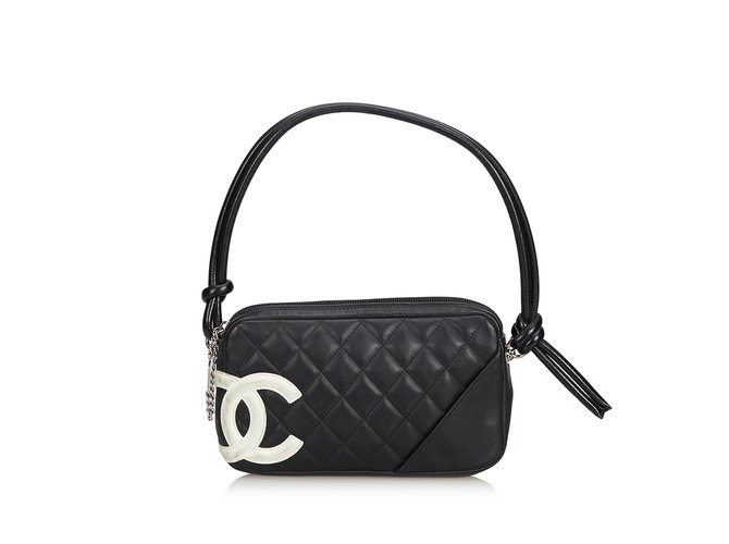a1c1fa389c9174 Chanel Cambon Ligne Pochette Handbags Leather,Other Black,White ref.99610