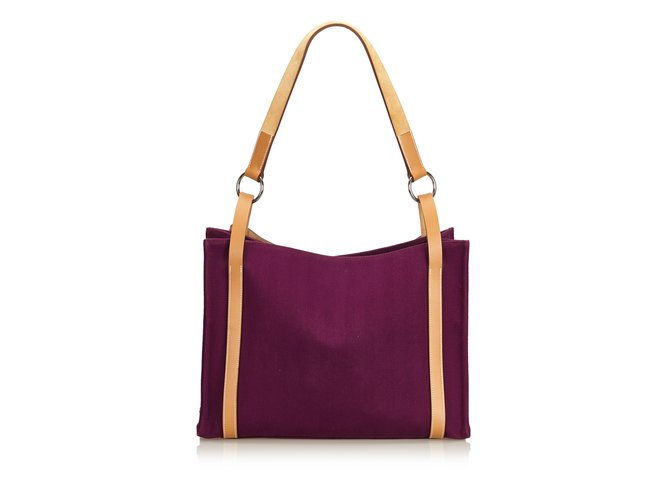 72d9875c9 Hermès Cabalicol Canvas Tote Bag Totes Leather,Other,Cloth Brown,Purple ref.