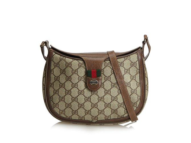 8c53fa1b9 Gucci Guccissima Web Crossbody Bag Handbags Leather,Other,Plastic Brown ,Beige,Dark