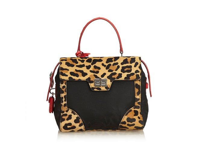 a76fe2303b8b Prada Ostrich-Trimmed Ponyhair Satchel Handbags Other,Nylon,Cloth,Pony hair  Black