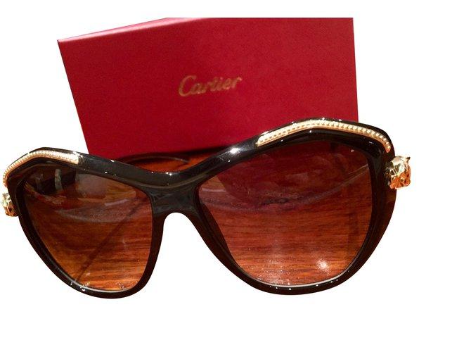 5325b7335b4149 Lunettes Cartier lunettes de soleil Cartier panthère T8201076 femme Autre  Noir,Marron foncé ref.