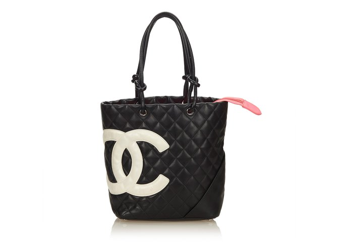 6838aad7a31562 Chanel Cambon Ligne Tote Totes Leather,Other Black ref.99758 - Joli ...