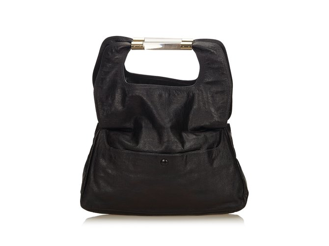 Chloé Fold-Over Nancy Clutch Clutch bags Leather,Other,Plastic Black ref.99774