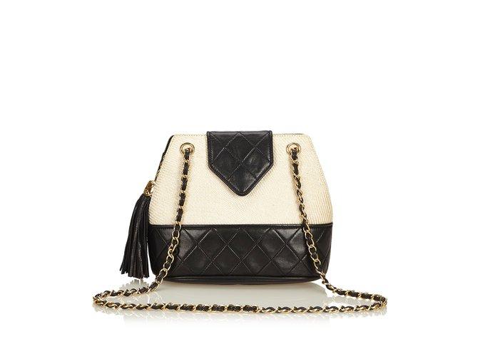 1ba47ecb55b4 Chanel Woven Raffia Chain Shoulder Bag Handbags Leather,Other  Black,White,Cream ref