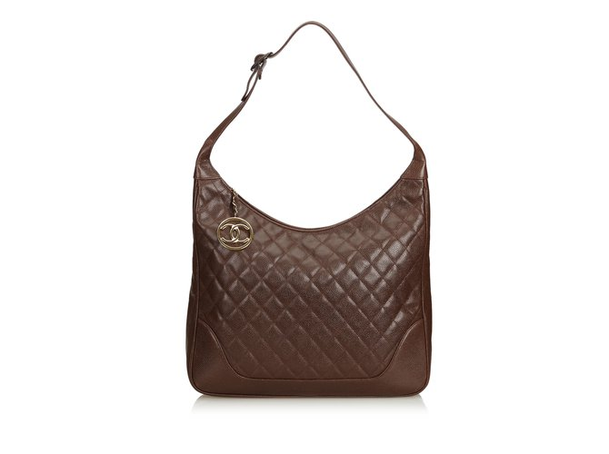 a0d7da58b9f1 Chanel Quilted Caviar Leather Shoulder Bag Handbags Leather Brown,Dark brown  ref.99776