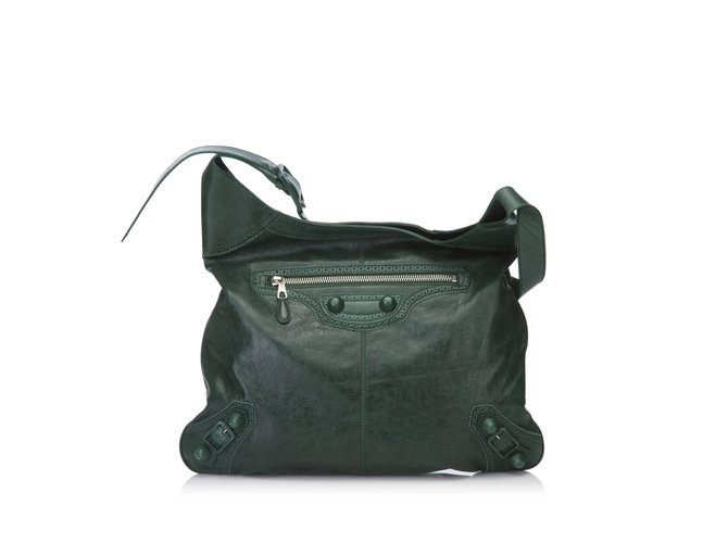 d907cf77c9 Balenciaga Motocross Agneau Giant Covered Brogues Besace Hobo Handbags  Leather Green,Dark green ref.
