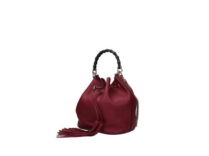 Gucci Gucci bucket handbag Handbags Leather Dark red ref.99834 ... b185cfcaf6ba8