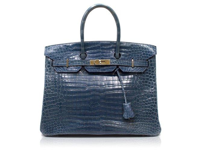 Sacs à main Hermès Sacs à main Cuirs exotiques Bleu foncé ref.99841