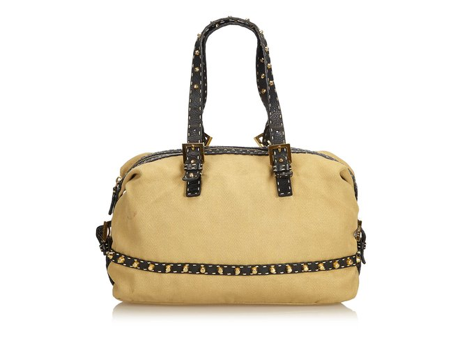 35b19dbc1f Fendi Studded Cotton Shoulder Bag Handbags Leather,Other,Cotton,Cloth  Brown,Black