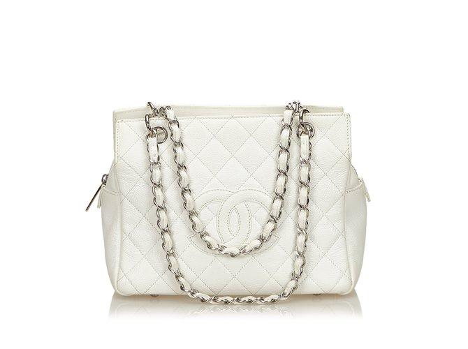 af04e7cd8268 Chanel Caviar Petite Timeless Tote Handbags Leather White,Cream ref.99867