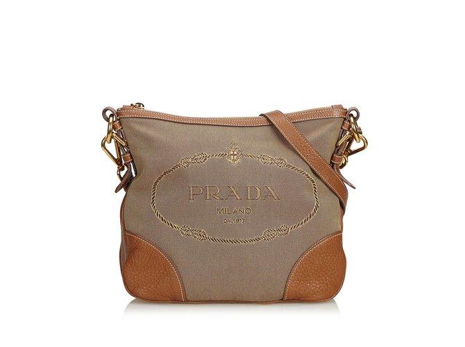 fac1d91be90a Prada Canapa Jacquard Crossbody Bag Handbags Leather,Other,Cloth  Brown,Light brown,