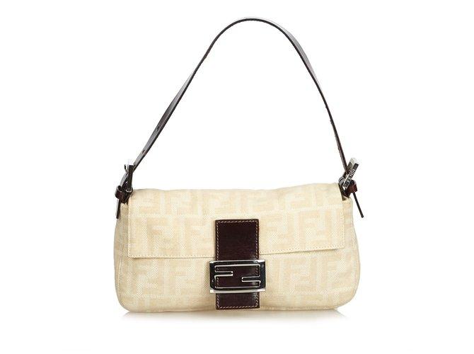 71f07a8706a9 Fendi Zucca Canvas Baguette Handbags Leather