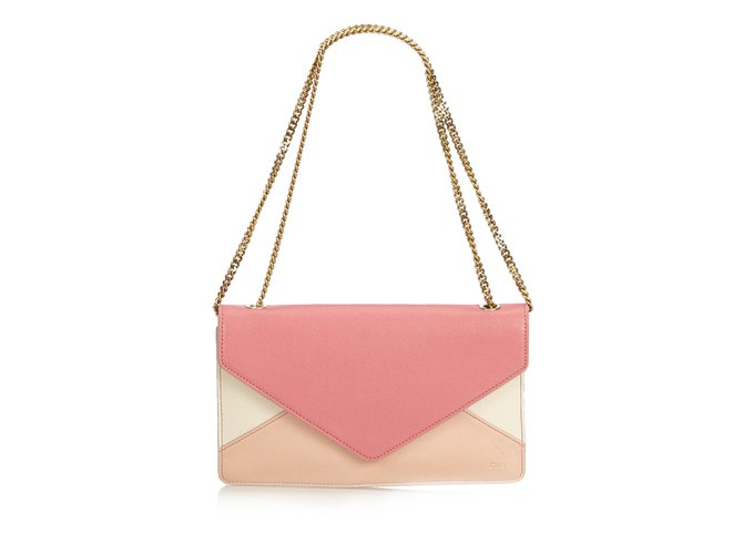 Chloé Leather Chain Shoulder Bag Handbags Leather,Other Pink,White,Cream ref.99941