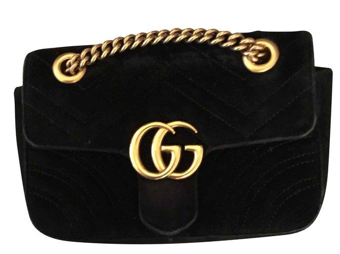 6915ddca15f8 Gucci Mini Gucci marmont Handbags Velvet Black ref.102721 - Joli Closet