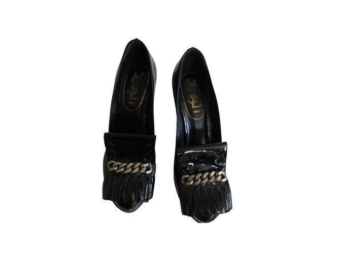 Escarpins Yves Saint Laurent Talons Cuir vernis Noir ref.105395