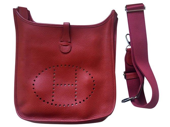Hermès Evelyne III GM Handbags Leather Dark red ref.105472