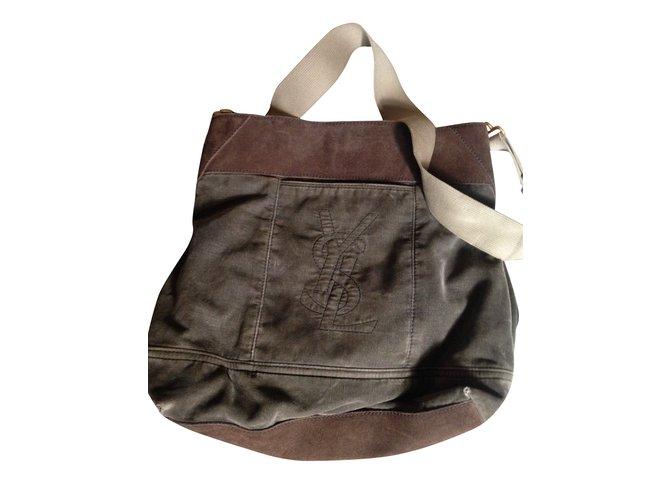 Yves Saint Laurent Yves saint laurent messenger bag Bags Briefcases Velvet Light brown ref.105510