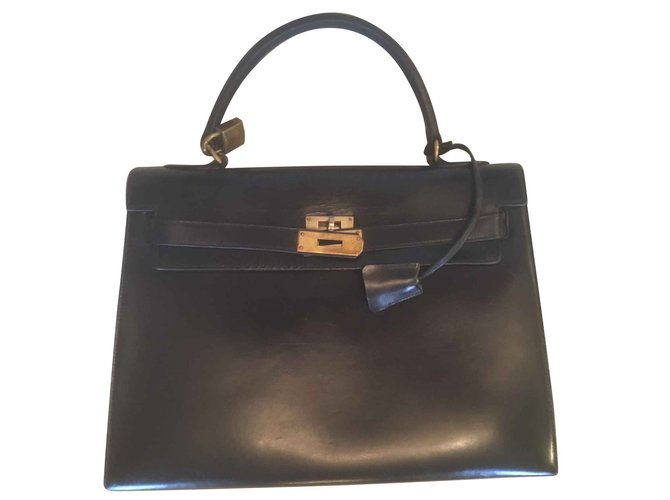 Sacs à main Hermès Kelly 32 sellier Cuir Noir ref.105539