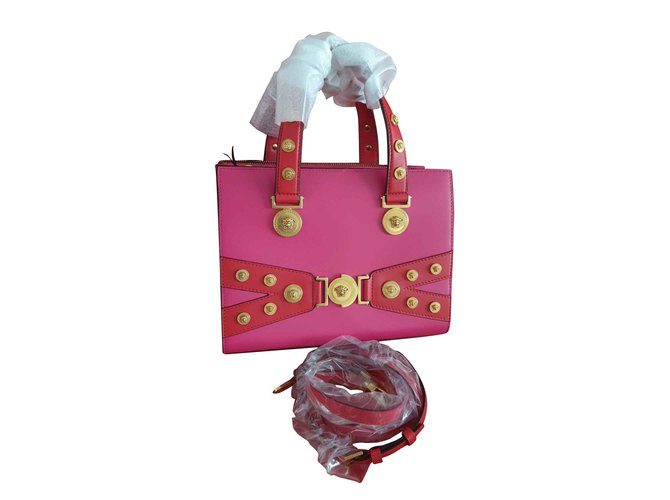58a06668dc2a Versace Medusa Stud Tribute Tote in Pink Handbags Leather Pink ref.105544