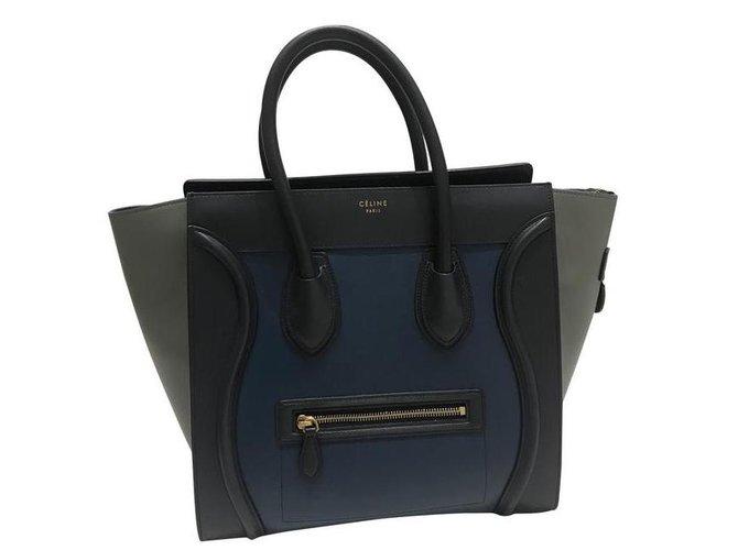 Céline Mini Luggage Handbags Leather Navy blue ref.105664