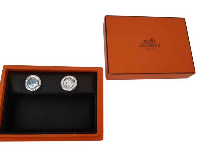 Boucles d'oreilles Hermès Clou de selle Argent Argenté ref.105742