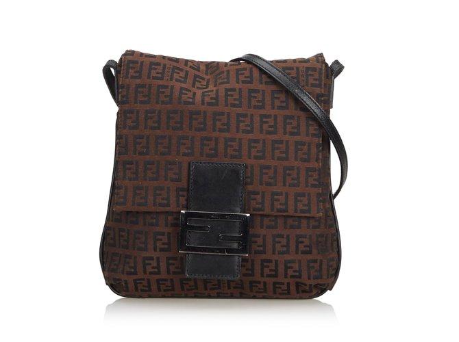 61f5d20e60 Fendi Zucchino Canvas Crossbody Bag Handbags Leather