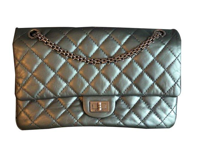 Chanel Reissue Handbags Leather Silvery ref.105892