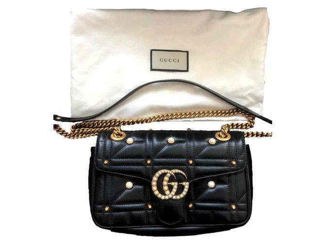 aaf9fd260f21 Gucci Marmont Handbags Lambskin Black ref.106146 - Joli Closet