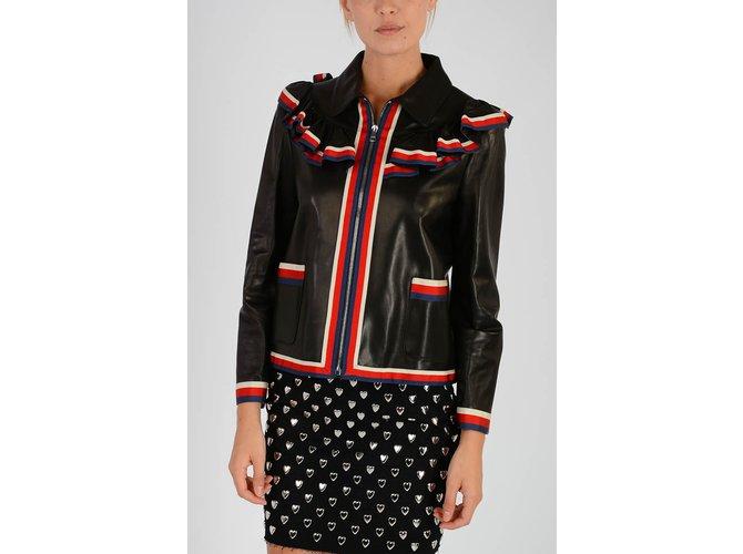 Vestes Gucci Gucci veste en cuir à volants neuf Cuir Noir ref.106155