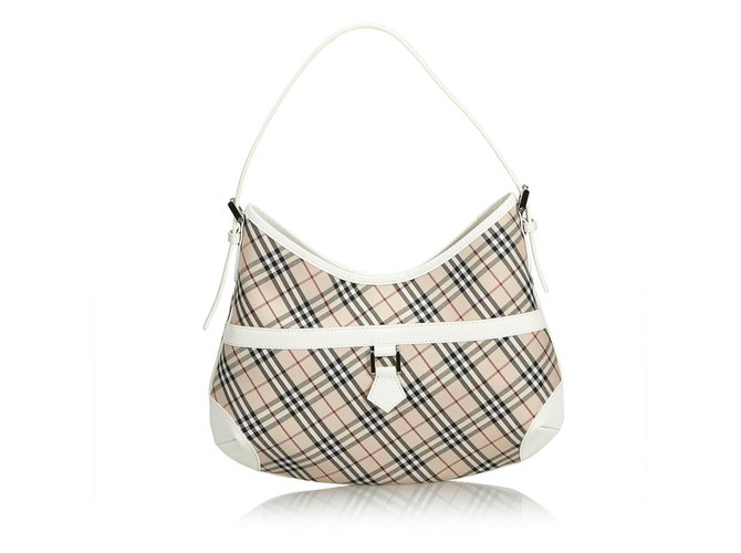 Burberry Plaid Jacquard Shoulder Bag Handbags Leather 6fbc83665b0ce