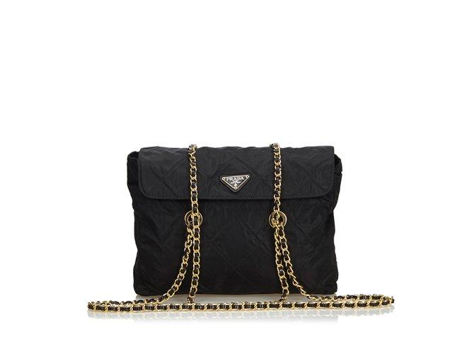 e615802e04a2 Prada Quilted Tessuto Nylon Chain Shoulder Bag Handbags Nylon,Cloth Black  ref.106264