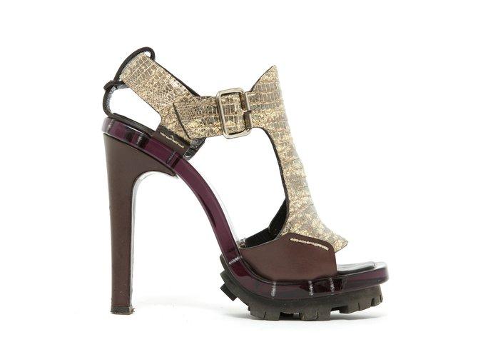Céline BROWN GOLD LIZARD FR39 Sandals Exotic leather,Plastic Brown ref.106350