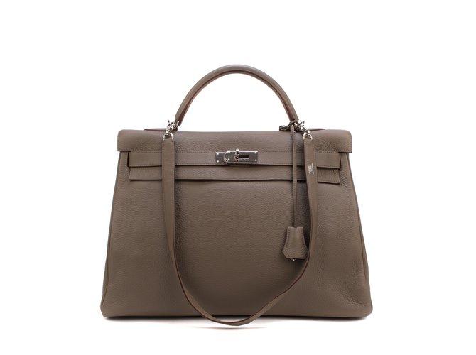 Hermès hermes kelly 40 shoulder strap in togo, PHW, In very good shape ! Handbags Leather Grey ref.106449