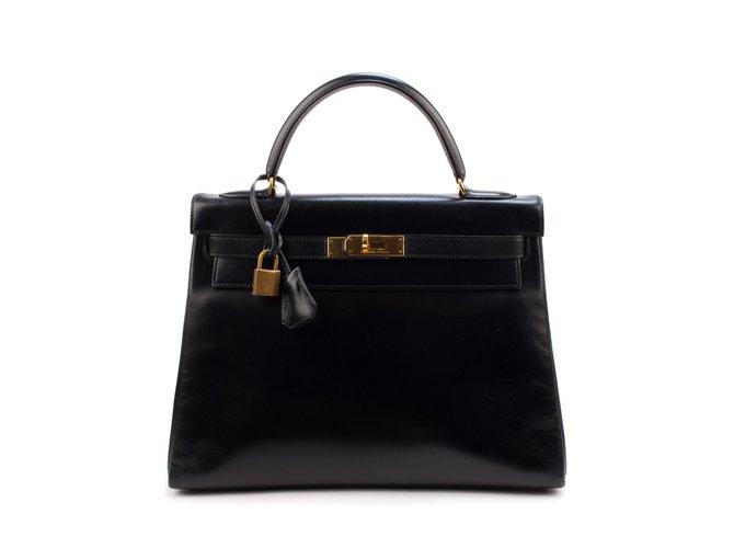 Sacs à main Hermès Très beau Hermès Kelly 3é en cuir box noir, accastillage doré en très bon état ! Cuir Noir ref.106469