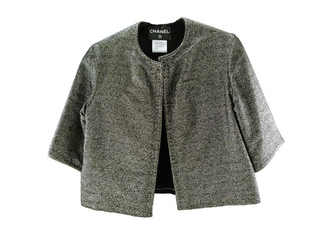 Chanel Jacket Jackets Viscose Grey ref.106480