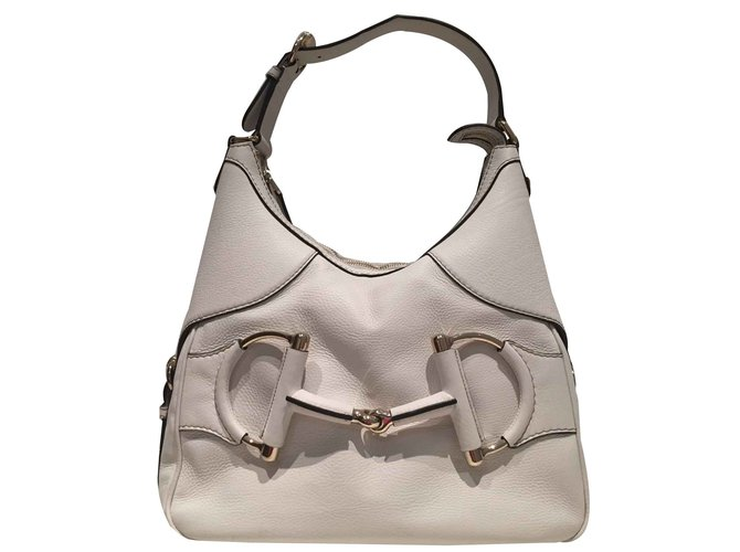 Gucci Bag Hobo White Top Condition Handbags Leather