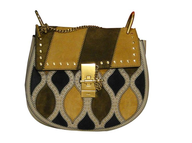 880eec2b2 Chloé DREW bag small Arlequin Limited Edition Handbags Suede,Leather Beige ,Grey,Light